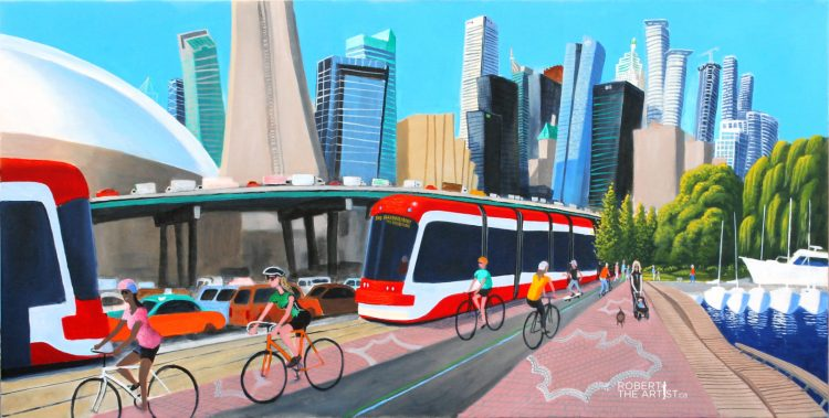 Bicycles, Streetcars on Queens Quay in Toronto