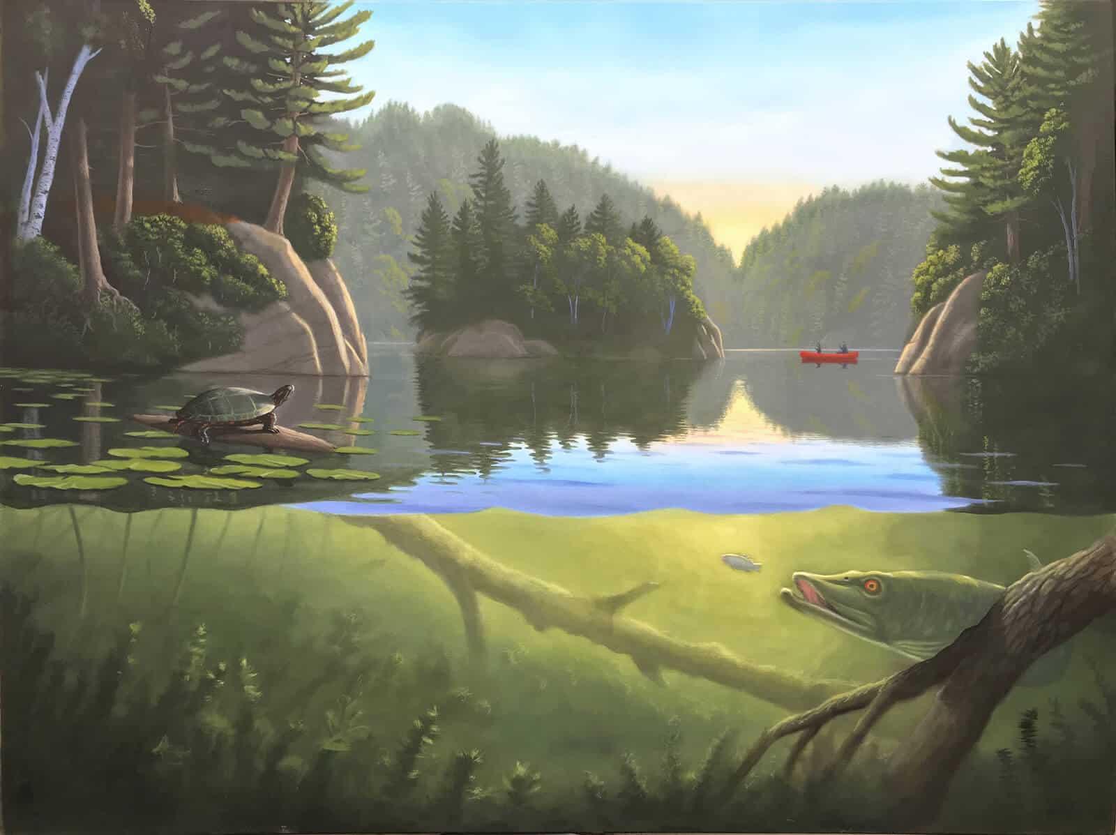 Original Oil Painting of Muskoka lake and wilderness by artist Robert Johnson