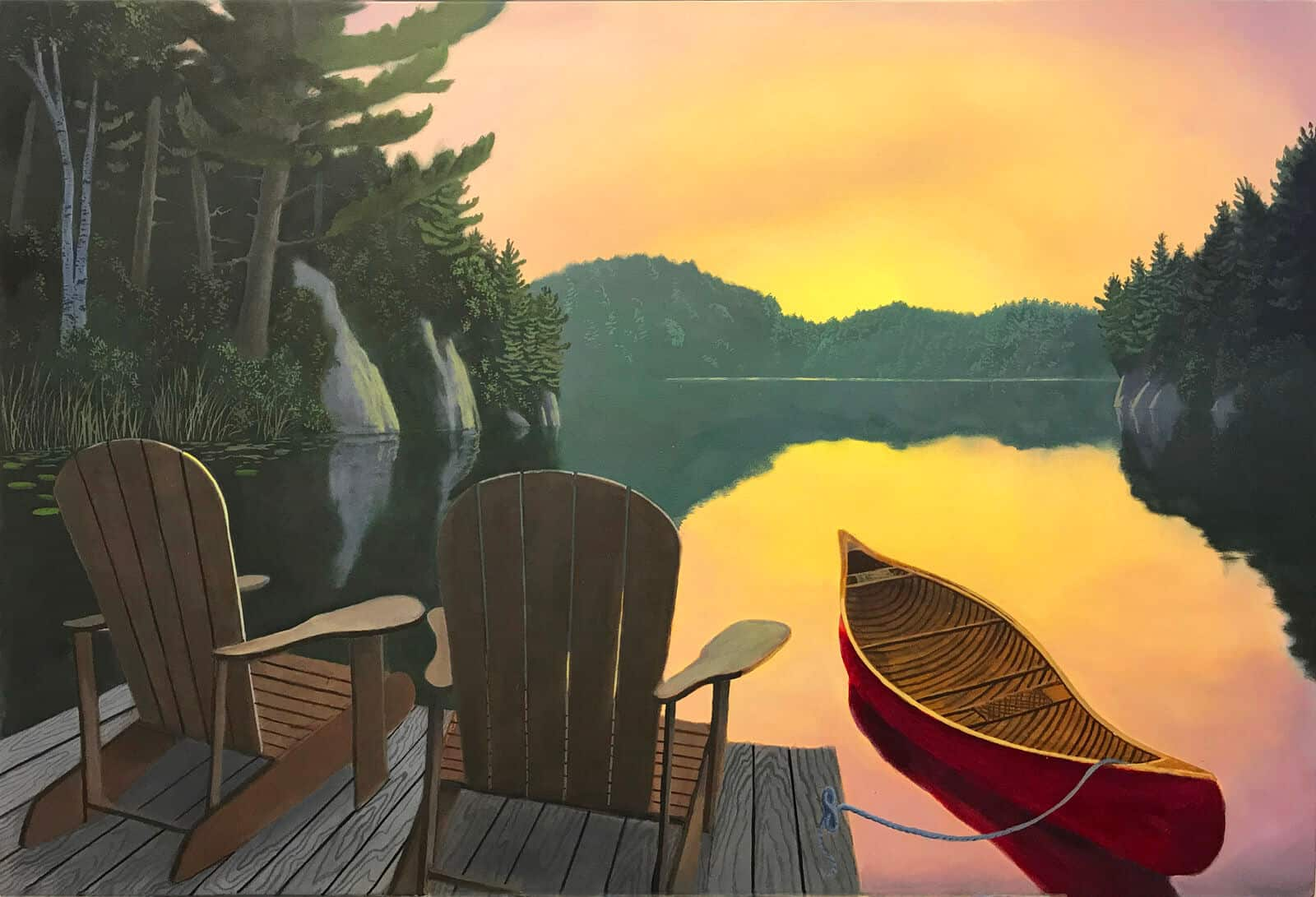Original oil painting of a red canoe at the dock in Muskoka by Robert Johnson