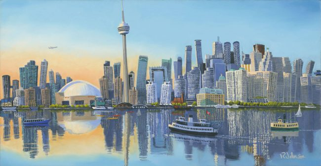 Funky Toronto Skyline, an original oil on canvas painting by Robert Johnson. Signed prints and limited edition giclée canvases available for purchase.