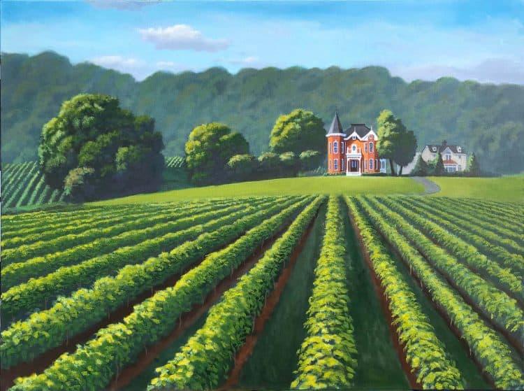 Niagara winery and vineyard original oil painting by Robert Johnson