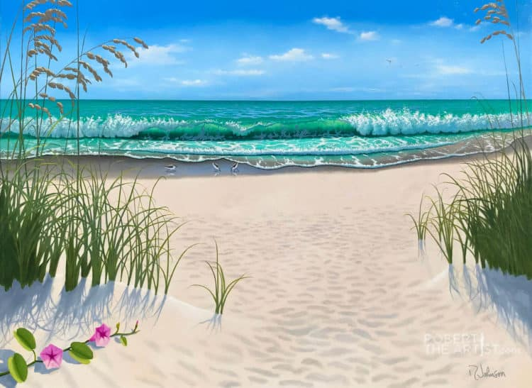 Painting of a beach entrance on Anna Maria Island Florida by Robert Johnson
