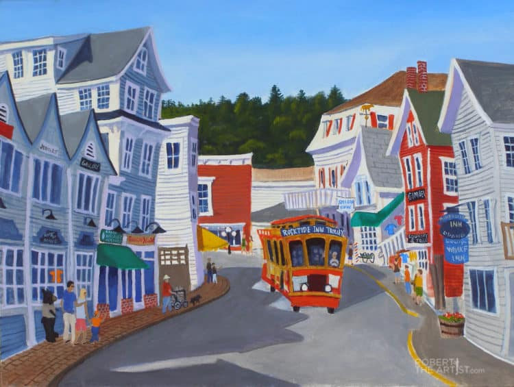 Painting of Boothbay Harbor trolley on Commercial Street by Robert Johnson