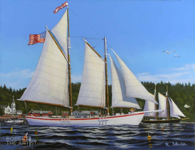 Schooner Eastwind sailing in Boothbay Harbor Maine by Robert Johnson