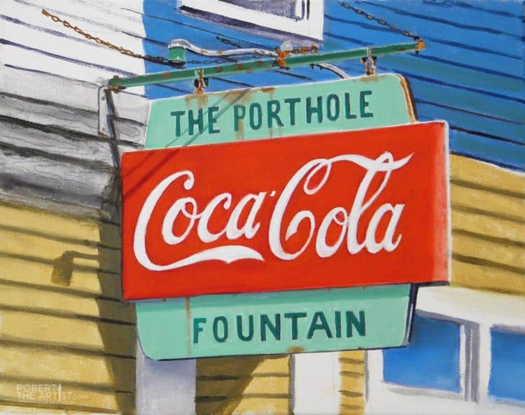 Painting of the Porthole Restaurant sign in Portland Maine