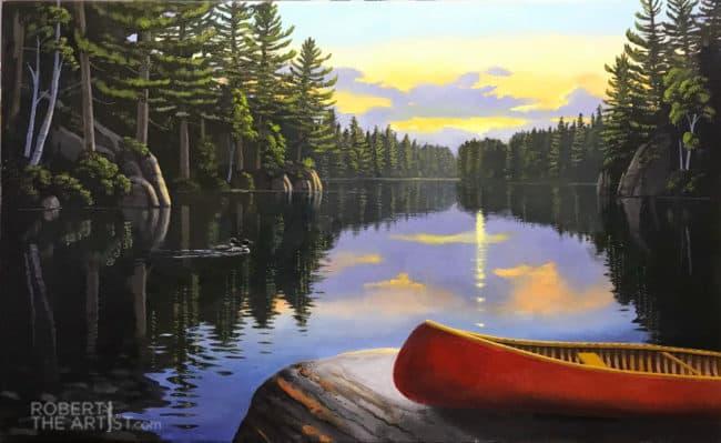Painting of a red canoe by the lake in Muskoka Canada