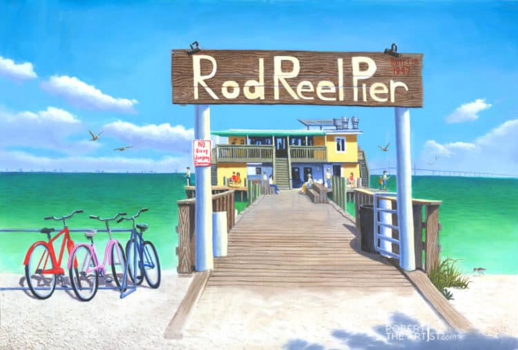 Painting of Rod and Reel Pier on Anna Maria Island by Robert Johnson