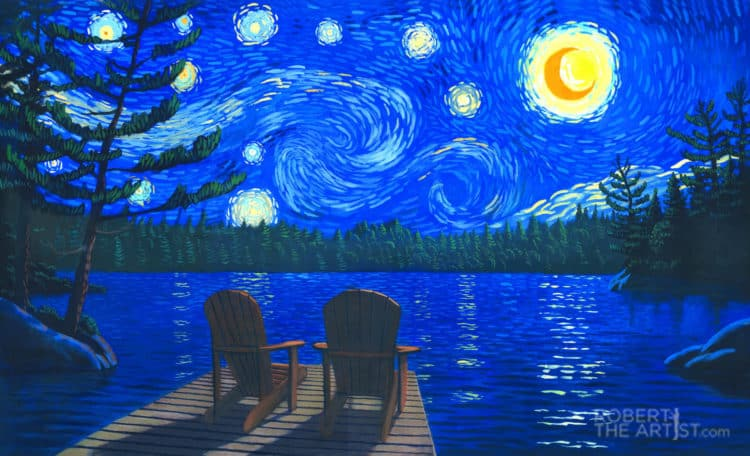 Painting of chairs on the dock with Van Gogh sky by Robert Johnson