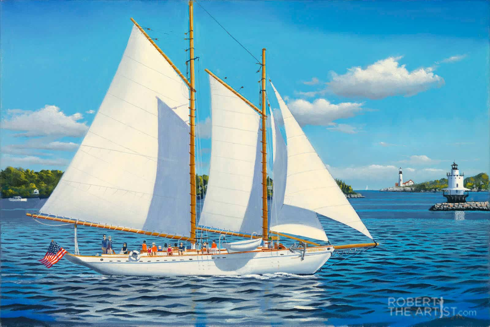 Painting Wendameen schooner under sail in Portland Maine by Robert Johnson