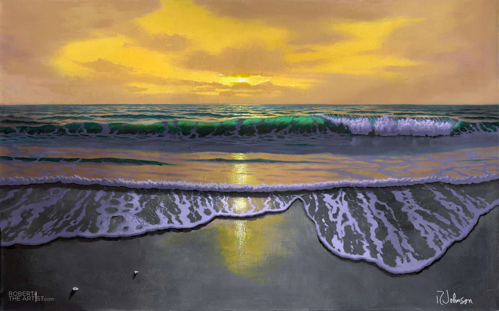 Glowing sunset wave painting