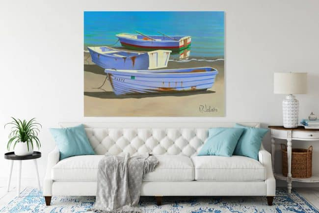 Painting of three dinghies set on a living room wall