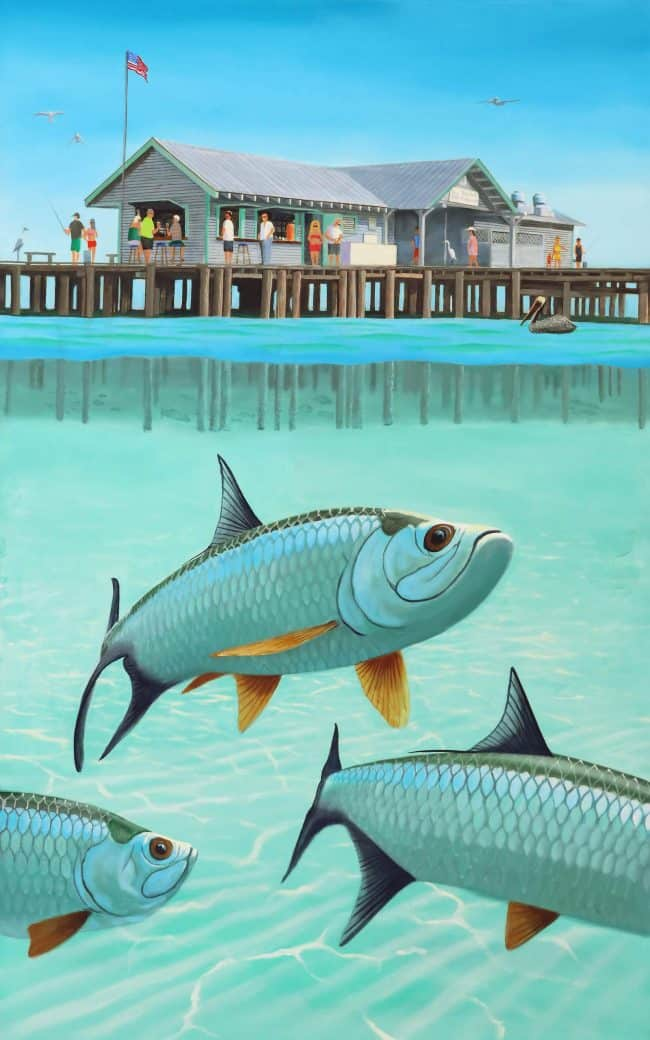 Anna Maria City Pier with tarpon fish
