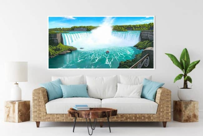 Painting of Niagara Falls, Ontario, Canada hanging over a couch