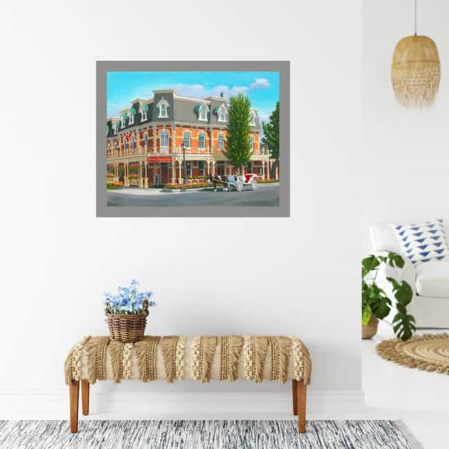 Prince of Wales Hotel painting shown hanging on a wall