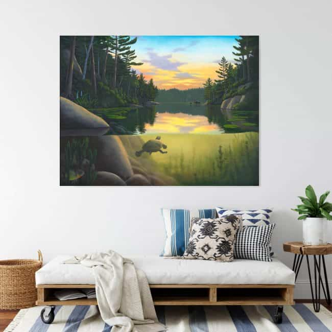 Painting of a turtle swimming underwater in a beautiful lake with a moose at the waters edge