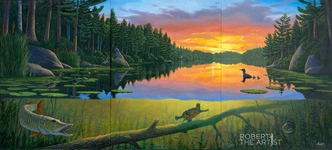 Muskoka lake painting at sunset showing above/below the waterline by Robert Johnson