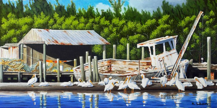 Painting of White Pelicans in Cortez Village Florida