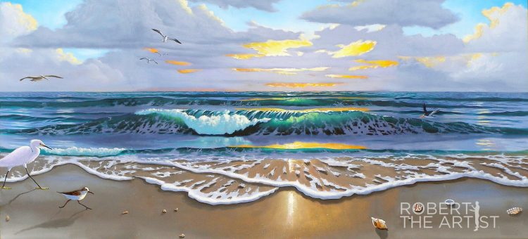 Beautiful ocean wave painting with shore birds along the shore by Robert Johnson