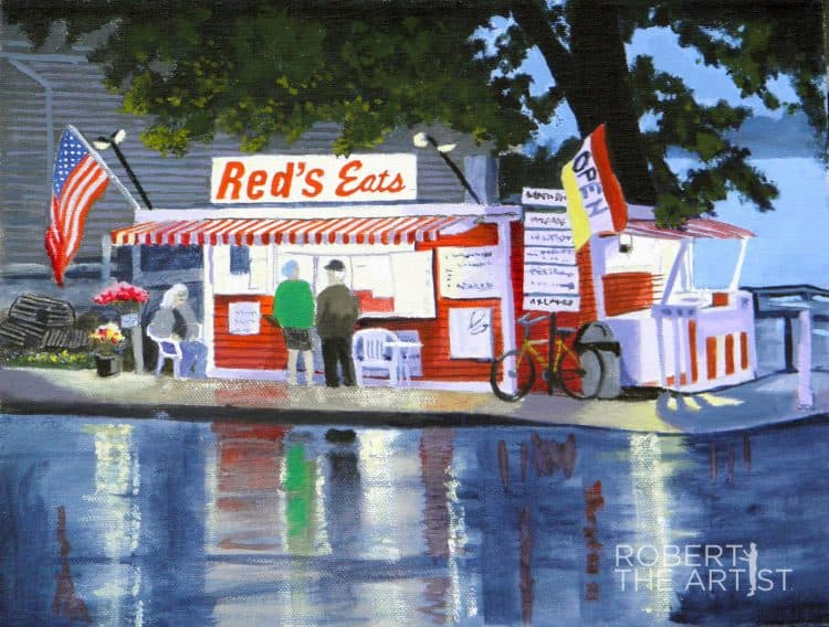 Painting of a local legend lobster stand in Maine called Red's Eats