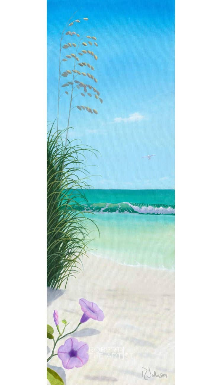 Painting of a beach scene with turqoise waters and flowers