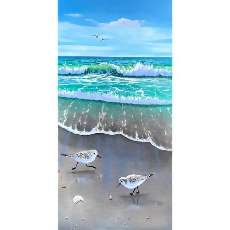 Painting of sanderling birds on the beach of Anna Maria Island